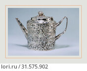 Купить «Teapot, 1845, Made in Baltimore, Maryland, United States, American, Silver, Overall: 6 13/16 x 9 9/16 x 5 1/2 in. (17.3 x 24.3 x 14 cm), 38 oz. 16 dwt...», фото № 31575902, снято 21 февраля 2017 г. (c) age Fotostock / Фотобанк Лори