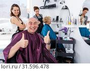 Купить «Happy man after haircut», фото № 31596478, снято 26 июня 2018 г. (c) Яков Филимонов / Фотобанк Лори
