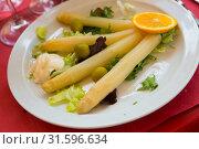 Купить «Steamed white asparagus», фото № 31596634, снято 19 июля 2019 г. (c) Яков Филимонов / Фотобанк Лори