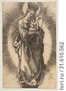 Купить «Virgin on the Crescent with Scepter and Starry Crown, 1516, Engraving, Sheet: 4 5/8 × 2 15/16 in. (11.7 × 7.4 cm), Prints, Albrecht Dürer (German, Nuremberg 1471–1528 Nuremberg)», фото № 31610562, снято 26 апреля 2017 г. (c) age Fotostock / Фотобанк Лори
