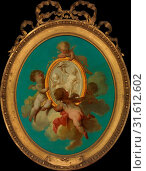 Putti with a Medallion, Oil on wood, Oval, 25 1/2 x 21 1/4 in. (64.8 x 54 cm), Paintings, Charles Dominique Joseph Eisen (French, Valenciennes 1720–1778... (2017 год). Редакционное фото, фотограф © Copyright Artokoloro Quint Lox Limited / age Fotostock / Фотобанк Лори