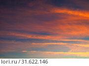 Купить «Небесный пейзаж. Sunset colorful sky background - pink, orange and blue dramatic colorful clouds lit by evening sunshine. Vast sunset sky», фото № 31622146, снято 4 ноября 2018 г. (c) Зезелина Марина / Фотобанк Лори