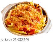 Купить «Macaroni baked with chorizo and tomato sauce», фото № 31623146, снято 23 июля 2019 г. (c) Яков Филимонов / Фотобанк Лори