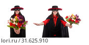 Купить «Girl in black and red carnival suit isolated on white», фото № 31625910, снято 13 февраля 2015 г. (c) Elnur / Фотобанк Лори