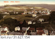 Buildings in Sebnitz, Churches in Sebnitz, 1908, Landkreis Sächsische Schweiz-Osterzgebirge, Sebnitz, Germany (2019 год). Редакционное фото, фотограф Copyright Liszt Collection / age Fotostock / Фотобанк Лори