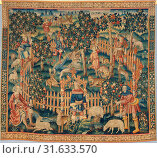 Hunting of Birds with a Hawk and a Bow (from the Hunting Parks Tapestries), ca. 1515–35, South Netherlandish, Wool and silk thread, Overall: 133 x 151... (2017 год). Редакционное фото, фотограф © Copyright Artokoloro Quint Lox Limited / age Fotostock / Фотобанк Лори