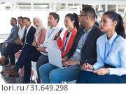 Купить «Businesswoman asking question during seminar», фото № 31649298, снято 16 марта 2019 г. (c) Wavebreak Media / Фотобанк Лори