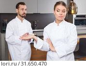 Купить «Two cooks having disagreements», фото № 31650470, снято 24 мая 2018 г. (c) Яков Филимонов / Фотобанк Лори