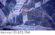 Купить «Warehouse Composition Man and woman working in a warehouse combined with animation of tur», видеоролик № 31672154, снято 30 сентября 2018 г. (c) Wavebreak Media / Фотобанк Лори