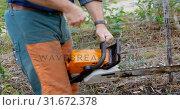 Купить «Lumberjack using electric saw in the forest 4k», видеоролик № 31672378, снято 13 августа 2018 г. (c) Wavebreak Media / Фотобанк Лори
