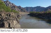 Купить «Lowflying on a drone over Teldykpen rapids on Altai river Katun near Oroktoi bridge», видеоролик № 31673250, снято 1 июля 2019 г. (c) Serg Zastavkin / Фотобанк Лори