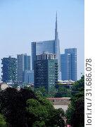 Skyline of Milan see from Restaurant Terrazza della Triennale terrace, Palazzo della Triennale, design and architecture museum, Parco Sempione park, Milan, Lombardy, Italy, Europe. Стоковое фото, фотограф Eddy Buttarelli / age Fotostock / Фотобанк Лори
