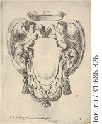 Купить «Plate 12: a cartouche flanked by two winged infant satyrs riding on the heads of two rams, from 'Nouvelles inventions de Cartouches', ca. 1647, Etching...», фото № 31686326, снято 26 апреля 2017 г. (c) age Fotostock / Фотобанк Лори