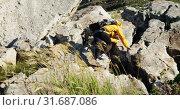 Senior woman climbing rock at countryside 4k. Стоковое видео, агентство Wavebreak Media / Фотобанк Лори
