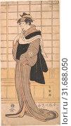 Osagawa Tsuneyo II as the hairdresser O-Roku, Edo period (1615–1868), 1794–95, Japan, Polychrome woodblock print, ink and color on paper, Image: 12... (2017 год). Редакционное фото, фотограф © Copyright Artokoloro Quint Lox Limited / age Fotostock / Фотобанк Лори