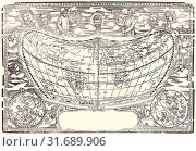 Купить «Anonymous. Map: The World of Volpellio (Typo de la carta Cosmographia de Gaspar Volpellio Medeburgense[?]), ca. 1520-1540 (modern restrike). Woodcut.», фото № 31689906, снято 25 июня 2013 г. (c) age Fotostock / Фотобанк Лори