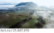 Купить «Aerial landscape of Navarre valleys and hills, North Spain», видеоролик № 31697970, снято 26 декабря 2018 г. (c) Яков Филимонов / Фотобанк Лори