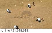 Купить «Aerial view of archers practicing archery at boot camp 4k», видеоролик № 31698618, снято 5 июля 2018 г. (c) Wavebreak Media / Фотобанк Лори