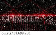Купить «Christmas animation showing red laser lights, text Christmas and Christmas tree 4k», видеоролик № 31698750, снято 26 октября 2018 г. (c) Wavebreak Media / Фотобанк Лори
