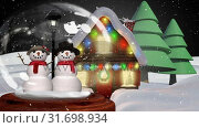 Купить «Cute Christmas animation of snowman couple against Santa Claus sledge in background 4k», видеоролик № 31698934, снято 26 октября 2018 г. (c) Wavebreak Media / Фотобанк Лори