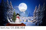 Купить «Cute Christmas animation of snowman and tree 4k», видеоролик № 31698954, снято 26 октября 2018 г. (c) Wavebreak Media / Фотобанк Лори