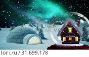 Купить «Christmas animation of hut in snow globe in magical forest 4k», видеоролик № 31699178, снято 26 октября 2018 г. (c) Wavebreak Media / Фотобанк Лори