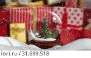 Купить «Christmas animation of Christmas tree in snow globe 4k», видеоролик № 31699518, снято 26 октября 2018 г. (c) Wavebreak Media / Фотобанк Лори