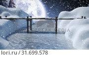 Купить «Winter scenery with full moon and falling snow», видеоролик № 31699578, снято 2 ноября 2018 г. (c) Wavebreak Media / Фотобанк Лори