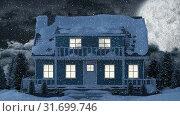 Купить «Video composition with snow over night winter scenery with  with house», видеоролик № 31699746, снято 2 ноября 2018 г. (c) Wavebreak Media / Фотобанк Лори