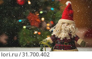 Купить «Falling snow with Christmas Santa decoration», видеоролик № 31700402, снято 2 ноября 2018 г. (c) Wavebreak Media / Фотобанк Лори
