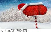 Купить «Video composition with snow over winter scene with red blank sign», видеоролик № 31700478, снято 2 ноября 2018 г. (c) Wavebreak Media / Фотобанк Лори