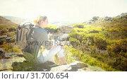 Купить «Woman hiking with nature transition», видеоролик № 31700654, снято 2 ноября 2018 г. (c) Wavebreak Media / Фотобанк Лори