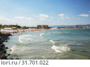 Купить «Panoramic view of the Sunny Beach resort (Slanchev Bryag) in Bulgaria, a popular resort on the Black Sea», фото № 31701022, снято 27 июня 2019 г. (c) Юлия Бабкина / Фотобанк Лори