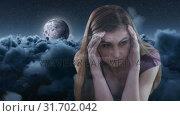Digital animation of worried woman with hand on head 4K. Стоковое видео, агентство Wavebreak Media / Фотобанк Лори