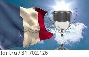 french flag next to trophy on sunny day (2018 год). Стоковое видео, агентство Wavebreak Media / Фотобанк Лори