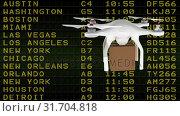 Купить «Delivery drone against the flight schedule table », видеоролик № 31704818, снято 5 марта 2019 г. (c) Wavebreak Media / Фотобанк Лори