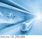 Купить «Speed of train and plane traveling», фото № 31705066, снято 7 декабря 2019 г. (c) Яков Филимонов / Фотобанк Лори