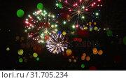 Купить «Fireworks and bokeh lights», видеоролик № 31705234, снято 26 марта 2019 г. (c) Wavebreak Media / Фотобанк Лори