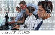 Купить «Call centre agents and their manager», видеоролик № 31705626, снято 5 апреля 2019 г. (c) Wavebreak Media / Фотобанк Лори