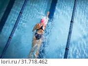 Купить «Swimmer in a pool», фото № 31718462, снято 24 марта 2019 г. (c) Wavebreak Media / Фотобанк Лори