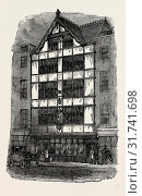STREET FRONT OF CROSBY HALL, London, UK, 19th century engraving (2014 год). Редакционное фото, фотограф Artokoloro / age Fotostock / Фотобанк Лори