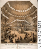 Interior view of the New York Crystal Palace for the exhibition of the industry of all nations, Nagel & Weingärtner, printmaker, New York : Goupil & Co... (2014 год). Редакционное фото, фотограф Artokoloro / age Fotostock / Фотобанк Лори