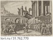 The people of Israel divided between Omri and Tibni, Philips Galle, 1569 (2014 год). Редакционное фото, фотограф Artokoloro / age Fotostock / Фотобанк Лори