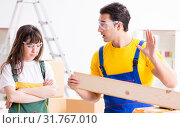 Купить «Man explaining woman woodworking tips in wood workshop», фото № 31767010, снято 6 декабря 2017 г. (c) Elnur / Фотобанк Лори