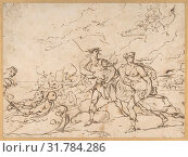 The Abduction of Helen, 1634–1705, Pen and brown ink, 7 13/16 x 10 1/2in. (19.9 x 26.7cm), Drawings, Luca Giordano (Italian, Naples 1634–1705 Naples) (2017 год). Редакционное фото, фотограф © Copyright Artokoloro Quint Lox Limited / age Fotostock / Фотобанк Лори