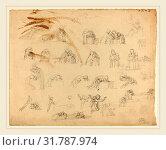 John Flaxman, British (1755-1826), Sheet of Studies, graphite--brown wash uL corner unrelated to composition (2014 год). Редакционное фото, фотограф Artokoloro / age Fotostock / Фотобанк Лори