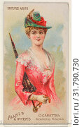 Secure Arms, from the Parasol Drills series (N18) for Allen & Ginter Cigarettes Brands, 1888, Commercial color lithograph, Sheet: 2 3/4 x 1 1/2 in. (7... (2017 год). Редакционное фото, фотограф © Copyright Artokoloro Quint Lox Limited / age Fotostock / Фотобанк Лори