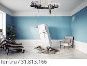 Купить «broken ceiling and falling refrigerator», фото № 31813166, снято 6 августа 2020 г. (c) Виктор Застольский / Фотобанк Лори