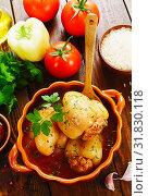 Купить «Stuffed paprika with meat», фото № 31830118, снято 26 июля 2019 г. (c) Надежда Мишкова / Фотобанк Лори