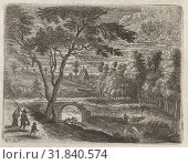 Купить «Landscape with a ruined bridge, a shepherd with cows and a man with wife and child, print maker: Lucas van Uden (mentioned on object), Dating 1605 - 1673», фото № 31840574, снято 5 ноября 2014 г. (c) age Fotostock / Фотобанк Лори